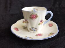 Shelley #13424 China Rose, Pansy, Forget Me Not demitasse cup & saucer England