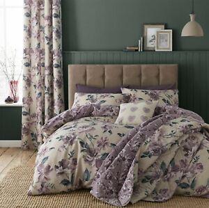 Catherine Lansfield Painted Floral Plum - Duvet Bedding Set