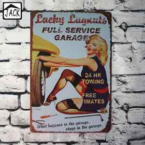 Lucky Lugnuts Service Poster Metallic Gasoline Garage Retro Vintage Collection