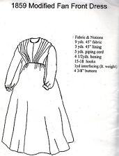 1859 MODIFIED FAN FRONT DRESS PATTERN Period Impressions 418 Size 6-8-10