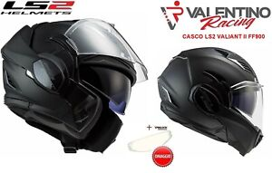 LS2 FF900 CASCO VALIANT II SOLID MODULARE MATT BLACK NERO OPACO MIS. XL 61 / 62