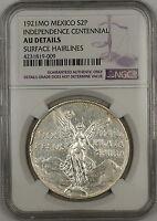 1921-MO Mexico 2 Pesos Independence Centennial Silver Coin NGC AU Details (A)
