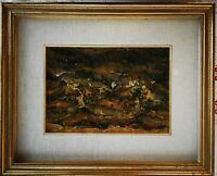 Luigi Crippa quadro tecnica mista, surrealista, con cornice: 46 x 38 x 5,2 cm
