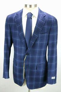 NWT Mens $1695 CANALI 1934 Wool Kei Jacket Coat 48 R fits 46 Blue Check 58 EU