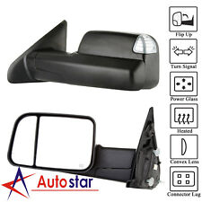 Black Power Heated Towing Mirrors Set For 09-15 Dodge Ram 1500 2500 3500 Pickup