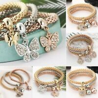 3Pcs/Set Women Gold Silver Rose Gold Bracelets Rhinestone Bangle Jewelry Gifts