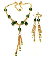 GOLD STATEMENT NECKLACE CLIP-ON EARRING SET Green gypsy vintage antique style