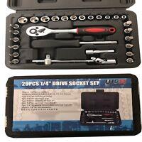 """WNB Pro Tools 29pc 1/4"""" Drive Socket Set Ratchet Screwdriver set 4-13mm sockets"""