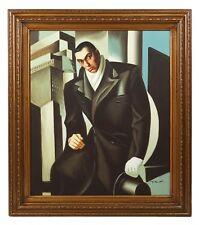 Tamara De Lempicka Portrait of a Man Acrylic Painting Copy Vintage Art MCM MOD
