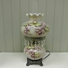 Kaldun & Bogle Glass Grape Victorian Double Light Table Lamp w/ Glass Beads