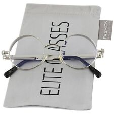 Round Steampunk Glasses Sunglasses Men Women Metal Fashion Designer Silver Clear