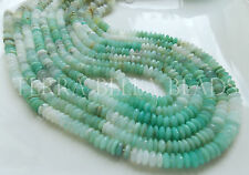 "8"" blue PERUVIAN OPAL faceted German cut gem stone rondelle beads 7.5mm - 8mm"