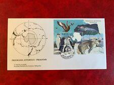 BRAZIL ANTARCTIC 1990 FDC MINISHEET MAP RESEARCH PENGUINS SEALS BIRDS 01