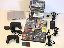 Sony Playstation 2 SLIM Console Bundle -2 Controllers 18 games ++ SCPH-79001