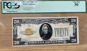 $20 1928 Gold Certificate - FR#2402 Woods/Mellon PCGS VERY FINE 30