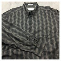 JHANE BARNES 90s VTG All Over Print VAPORWAVE Shirt XL Button Funky Abstract