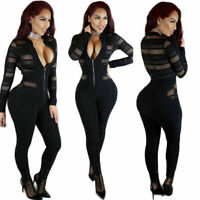 Womens Sexy Long Sleeve Bodycon See Through Mesh Jumpsuit Rompers Playsuit Pants