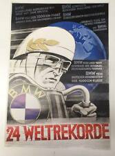 BMW Vintage Motorcycle Poster - 24 Weltrekorde RARE #62717a