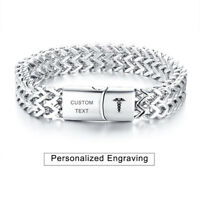 Medical Alert ID Double Layers Men Bracelet Fishbone Chain Personalized Engraved