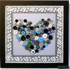 Tableau coeur, collage, décoration. Cadeau  Signé