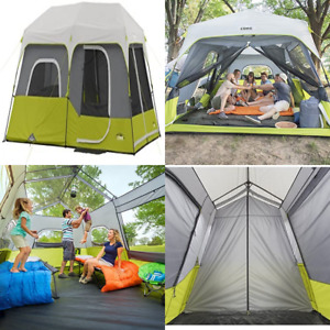 Core 9 Person Instant Cabin Tent - 14' x 9' Green with Rain Fly Stakes Carry Bag
