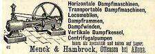 Menck & Hambrock Ottensen Horizontale Dampfmaschinen Historische Annonce 1879