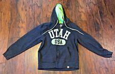 Dark Gray Grey and Green Utah USA Hoodie Sweatshirt Large Unisex Men Women