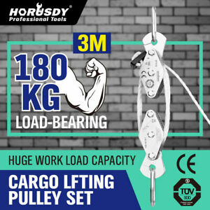 20M Cargo Lifting Rope Set Winch Hoist Pulley Puller Max 180kg /3M Lifting Hight