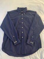 Brooks Brothers Navy Blue Dress Shirt Men's Large Long Sleeve Button Down