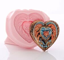 Victorian Heart Silicone Mold Food Safe Fondant Chocolate Jewelry Resin (891)