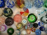 Glass paperweights- large collection, various colours, shapes and sizes