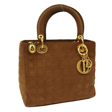 Auth Christian Dior Lady Dior Cannage Hand Bag Brown Canvas Italy VTG S05102