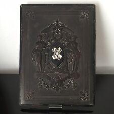 Grande Plaque en Gutta Percha Monogramme Argent XIXè Victorian Ebonite 19thC