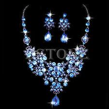 Wedding Bridal Blue Rhinestone Crystal Pendant Necklace Earrings Jewelry Sets