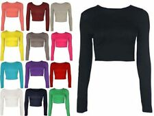 Unbranded Women's No Pattern Long Sleeve Sleeve Cropped Tops & Shirts