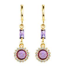 Women Elegant Round Purple Red Black Cubic Zirconia CZ Drop Earrings Jewelry
