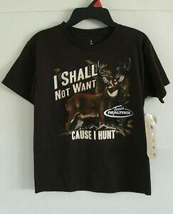 "Team Realtree Boys Brown ""I Shall Not Want Cause I Hunt"" Short Sleeve Shirt NWT"