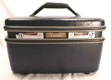 Vintage SAMSONITE Silhouette Train Cosmetic Case W/ Keys NAVY BLUE
