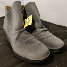 Fly London Yip Wedge Heel Bootie Womens Boots Gray Suede Leather US 8-8.5 M EU39