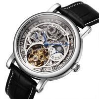 Tourbillon Automatic Mechanical Men's Watches Luxury Skeleton Dial Leather Band