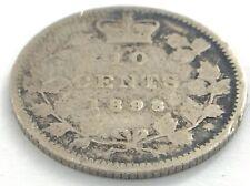 1898 Canada 10 Ten Cent Silver Dime Canadian Circulated Victoria Coin L481