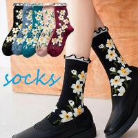 Women Ankle Socks Knit Cotton Floral Ruffle Socks Floral Print Casual Socks