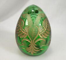 Russian Cut Glass Green & Gold Double Eagle Egg - 58674