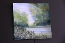New Lakeside View with wild Garlic watercolour 30cmx30 cm unmounted unframed
