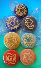 New listing 7 Piece Chakra Crystal Usui Reiki Gold Engraved Round Set With Pouch