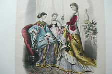 ANTIQUE 19th C LITHOGRAPH COL'D FASHION PRINT PUBLISHED 1867  1/10 Nice Cheerful