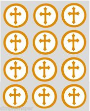 12 Gold Cross Cupcake Toppers Pre cut 40mm Holy Communion Christening Baptism