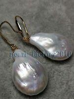 AAA 21-17mm South Sea White Baroque Pearl Earrings 14K GOLD