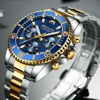 Armbanduhr Herrenuhr Chronograph Edelstahl Silber Gold Farbe Analog Datum Quarz