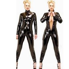 Sexy Women Zipper Catsuit Bodysuit Cosplay Wet Look Dom Fetish PVC Bodycon 4XL